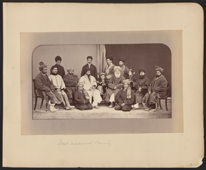 "Dost Mohammad Khan (Emir of Afghanistan) - Dōst Moḥammad Khan seated slightly to the right of center in this photograph. To Dōst Moḥammad's right, the first figure in a white chapan (overcoat) is his son and successor Sher ʻAlī Khān (1825–1879), who ruled Afghanistan from 1863 to 1879. Abd al-Raḥmān Khān (c. 1844–1901), the grandson of Dōst Mohammad and future ""Iron Amir"" of Afghanistan, is on Dōst Moḥammad's far left."