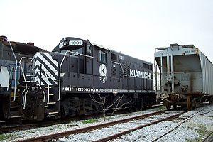 Kiamichi Railroad - Kiamichi Railroad locomotive at the Eastern Alabama Railway yard in Sylacauga, Alabama. Notice the Ditch Lights are absent.