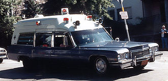 Emergency medical services - A 1973 Cadillac Miller-Meteor ambulance. Note the raised roof, with more room for the attendants and patients