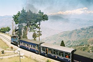 A Darjeeling Himalayan Railway train on Batasia Loop