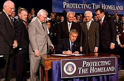 President George W. Bush signs the Homeland Security Appropriations Act of 2004.