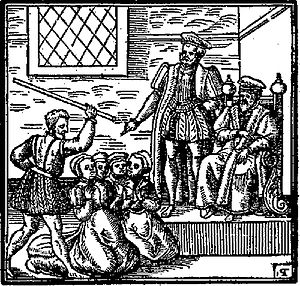 Witch trials in early modern Scotland - Illustration of witches, perhaps being tortured before James VI, from his Daemonologie (1597)