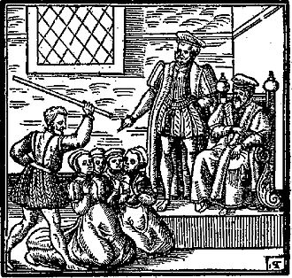 European witchcraft - Illustration of witches, perhaps being tortured before James VI, from his Daemonologie (1597)