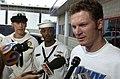 Dale Earnhardt Jr announcing Navy sponsorship in 2006 NASCAR Busch Series.jpg