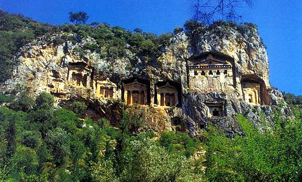 Lycian rock cut tombs of Kaunos (Dalyan) Dalyan - Caunos2.JPG