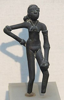 <i>Dancing Girl</i> (sculpture) 4,500 year old bronze sculpture from the Indus Valley Civilisation city of Mohenjo-daro