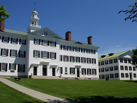 Dartmouth Hall was reconstructed in 1906. Dartmouth Hall, Dartmouth College - general view.JPG