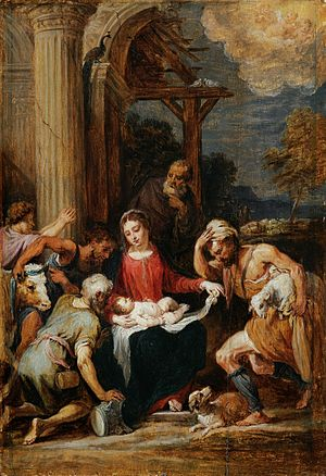 Adoration of the shepherds, after Andrea Schiavone