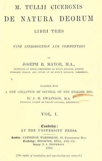 De Natura Deorum - 1880 Cambridge University Press edition