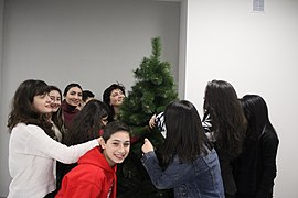 Decoration of Wikimedia Armenia Christmas tree, 12 Dec 2017 01.jpg