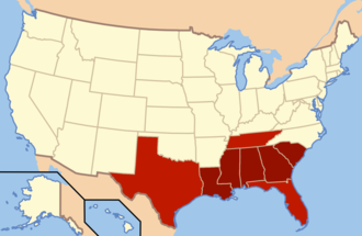 Deep South - The states in dark red compose the Deep South today. Adjoining areas of East Texas, West Tennessee, and North Florida are also generally considered part of this subregion. Historically, each of these states were in the Confederate States of America and were largely reliant on slave labor at the time of the Civil War. (In Texas, East Texas was the prime region for slavery.)
