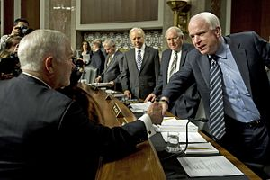 "United States Senate Committee on Armed Services - Hearing regarding ""Don't Ask, Don't Tell,"" U.S. Secretary of Defense Robert M. Gates greets Ranking member, John McCain. December 2, 2010."