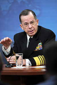 Defense.gov News Photo 110301-D-XH843-004 - Chairman of the Joint Chiefs of Staff Adm. Mike Mullen responds to a reporter s question during a press conference with Secretary of Defense Robert.jpg