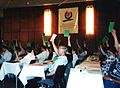 Delegates voting at the Second European Ecumenical Assembly, Graz, June 1997.jpg