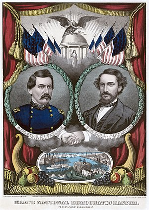 George H. Pendleton - Currier and Ives print of the Democratic presidential party ticket, 1864. Lithograph with watercolor.