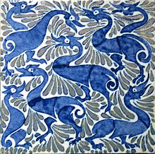 Fantastic ducks on 6-inch tile with lustre highlights, Fulham period