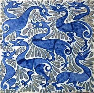 William De Morgan - Fantastic ducks on 6-inch tile with lustre highlights, Fulham period