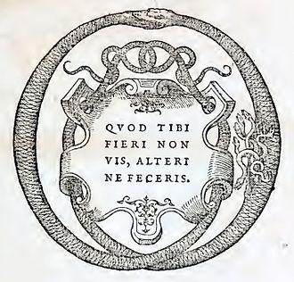 Jean de Tournes - Device and motto of the printing house of Jean de Tournes, from M. Vitrvvii Pollionis De architectvra libri decem, ad Caes. Avgvstvm, omnibus omnium editionibus longè emendatiores, collatis veteribus exemplis (1586), reprint of the 1552 edition (last leaf, unnumbered)
