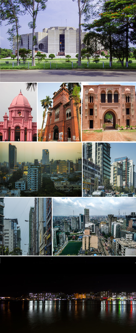 First row: Parliament of Bangladesh Second row: Ahsan Manzil, Curzon Hall, Nimtoli Deuri Third row: Gulshan, Uttara Fourth row: Banani, Motijheel Fifth row: Port of Dhaka