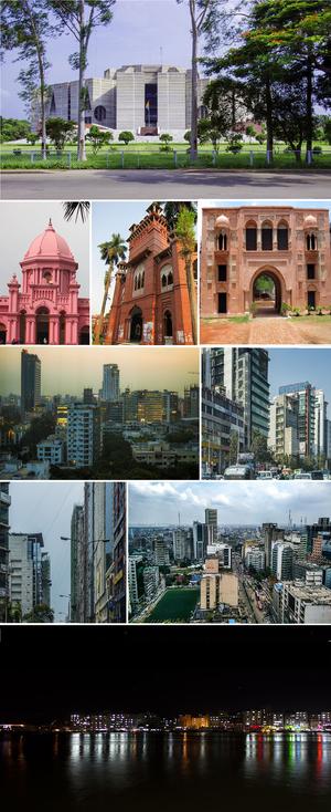 Dhaka - First row: Parliament of Bangladesh Second row: Ahsan Manzil, Curzon Hall, Nimtoli Deuri Third row: Gulshan, Uttara Fourth row: Banani, Motijheel Fifth row: Port of Dhaka
