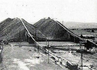Societé Minière de Bakwanga - Diamond mining slag heaps in Bakwanga, Kasai, 1950