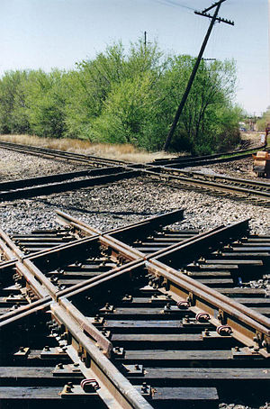 Level junction - A fully assembled level junction used where the Union Pacific and Kansas & Oklahoma tracks cross