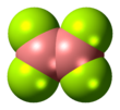 Space-filling model of the diboron tetrafluoride molecule