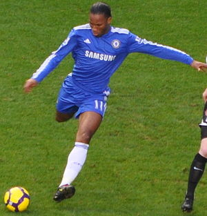 Didier Drogba in action for Chelsea against Fu...