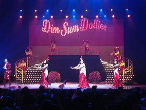 Dim Sum Dollies - The Dim Sum Dollies show Dim Sum Dollies: The History of Singapore Part 2 at the Esplanade Theatre, Esplanade – Theatres on the Bay, in December 2014