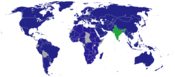 Diplomatic missions of India (Blue) & HQ and domestic offices (Green)