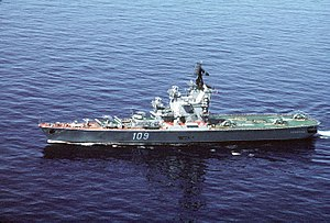 Moskva-class helicopter carrier - Leningrad underway in 1990.