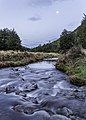 Dobson Stream by Wharfedale hut with the moon, Mt Oxford area, Canterbury, New Zealand.jpg
