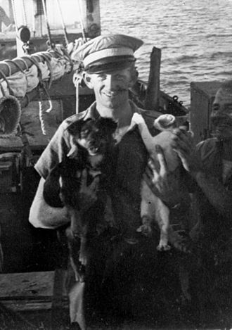 Donald Stott - Stott aboard a ship in the Mediterranean during his time with SOE in Greece