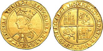 Peter of Castile - Dobla of 35 maravedís with the effige of Peter of Castile