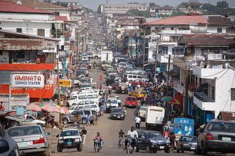 Monrovia - A street in downtown Monrovia, 2009.