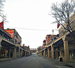 Morristown, Tennessee - A view of the overhead sidewalks, looking west in downtown Morristown