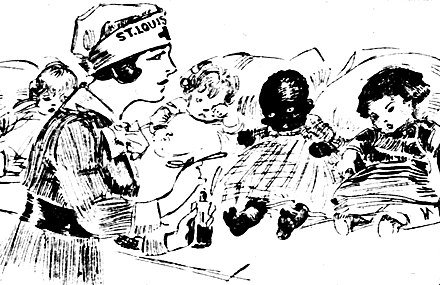 Drawing by Marguerite Martyn (1918) of a visiting nurse in St. Louis, Missouri, with medicine and babies Drawing by Marguerite Martyn of a visiting nurse with medicine and four babies, 1918.jpg