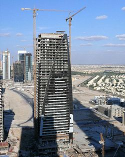 Dubai Arch Tower Under Construction on 10 January 2008.jpg