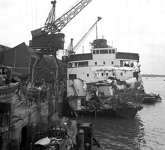 TSS Duke of York (1935) - Ship on 31 May 1953 after the collision with American freighter USNS ''Haiti Victory''