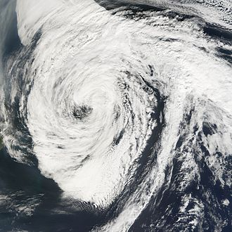 Extratropical cyclone - Hurricane Florence in the north Atlantic after completing its transition to an extratropical cyclone from a hurricane