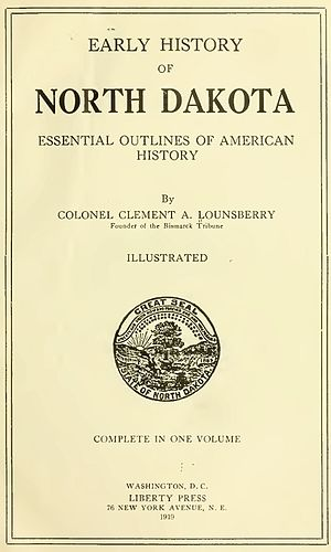 Bibliography of North Dakota history - Image: Early Historyof North Dakota Cover 1919