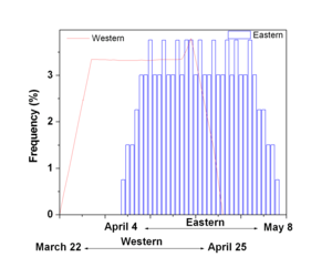 Computus - Distribution of the date of Easter in most eastern churches 1900–2099 vs western Easter distribution