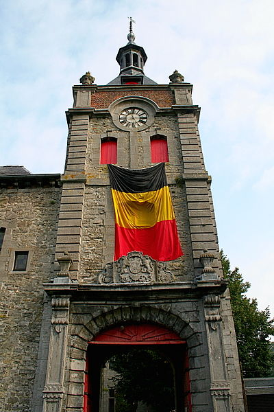 Écaussinnes-Lalaing  (Belgium), tower-porch of the castle (XII/XVth centuries).