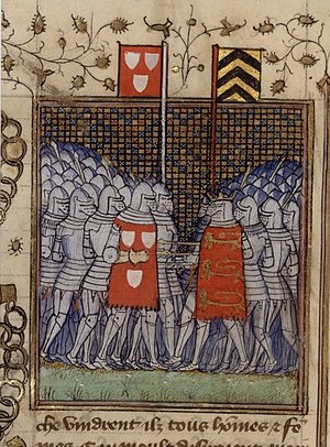 Two large groups of late medieval knights approaching each other on foot