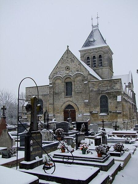 Eglise de Lagny (Oise) sous la neige