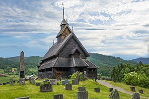 Telemark - The 13th century Eidsborg Stave Church in Lårdal, Upper Telemark