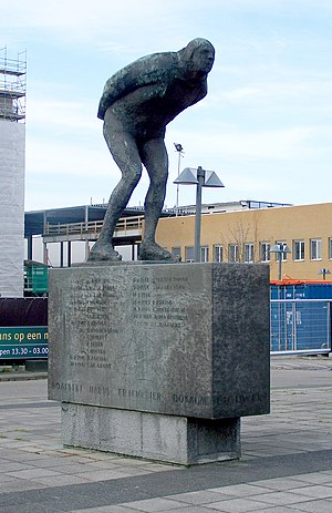Elfstedentocht - Statue in Leeuwarden of an Elfstedentocht competitor.  The eleven cities and all the winners are listed on the plinth