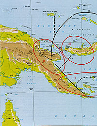 Topographic map of Papua New Guinea with arrows indicating an Allied advance along the northern coast towards the Admiralty Islands.