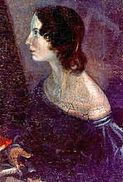 Emily Brontë.Tableau de Branwell Brontë (retouché graphiquement).