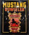 Enamel advertising sign, Mustang rijwielen, Gebroeders de Geeter, Assen, Langcat Bussum.JPG